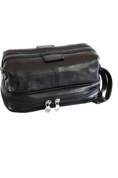 Portfard, necessaire, geanta cosmetica, piele naturala, negru, gentidebarbati.ro, B120