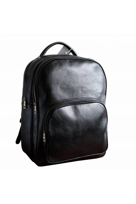 Rucsac piele naturala vachetta, portlaptop,negru, util land, R104