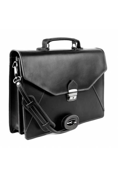 Servieta din piele naturala, geanta acte, neagra, gentidebarbati.ro, S145