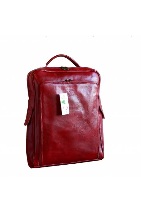 Rucsac din piele naturala vachetta, portlaptop, rosu, util land, R106