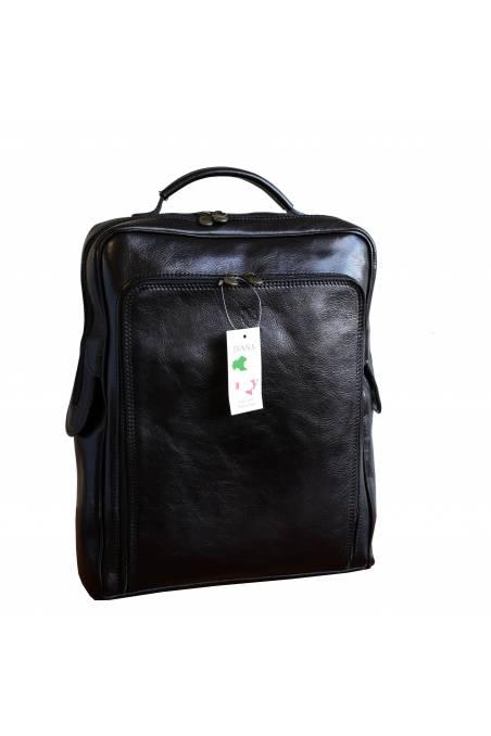 Rucsac din piele naturala vachetta, portlaptop, negru, util land, R106
