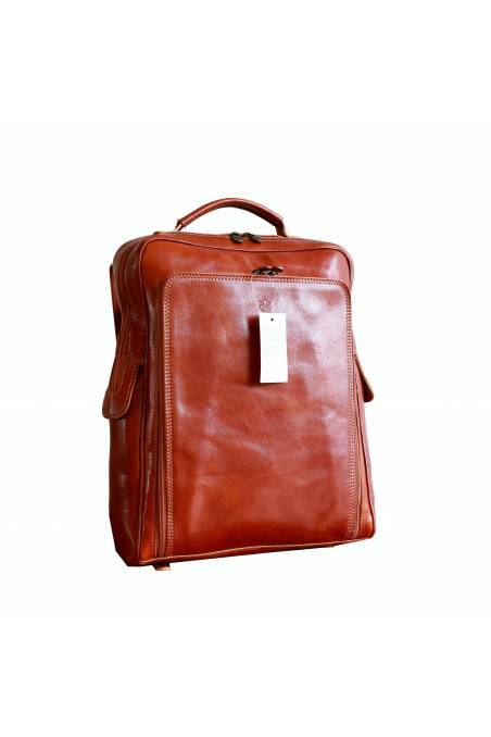 Rucsac din piele naturala vachetta, portlaptop, bej, util land, R106