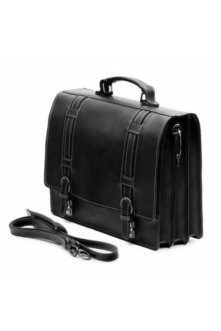 Servieta dama office din piele naturala, port laptop, util land, neagra, DS112