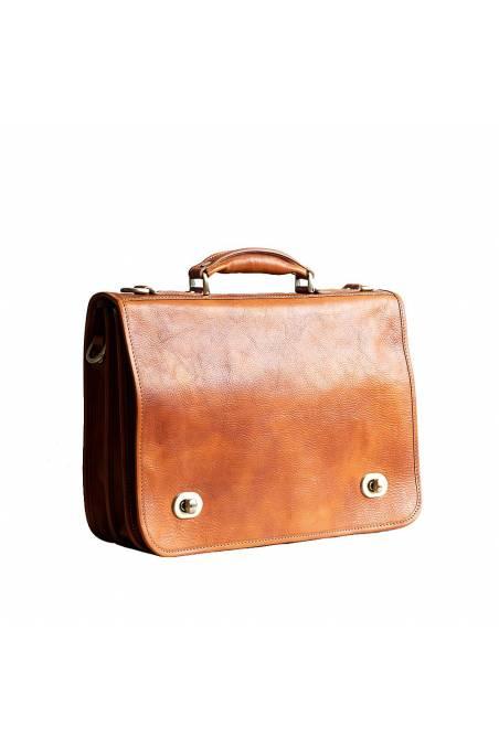 Servieta dama, port laptop, din piele naturala vachetta, bej, util land, DS110C