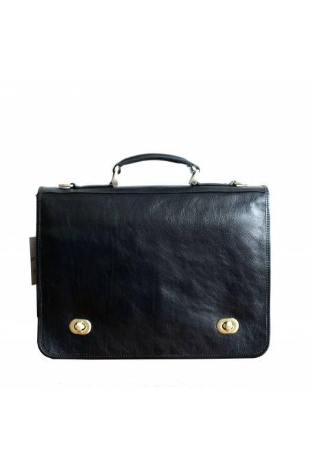 Servieta dama, port laptop, din piele naturala vachetta, neagra, util land, DS111