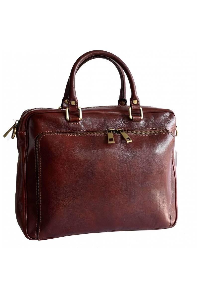 Geanta dama port laptop din piele naturala vachetta, coniac, util land, DDS112A