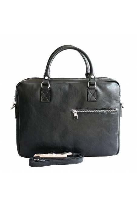 Geanta dama pentru acte si laptop din piele naturala, neagra, gentidebarbati.ro, DS147
