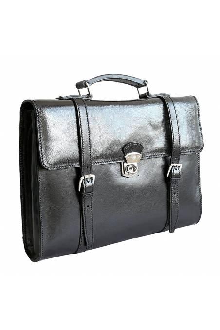 Servieta, rucsc port laptop din piele naturala, neagra, gentidebarbti.ro, S149