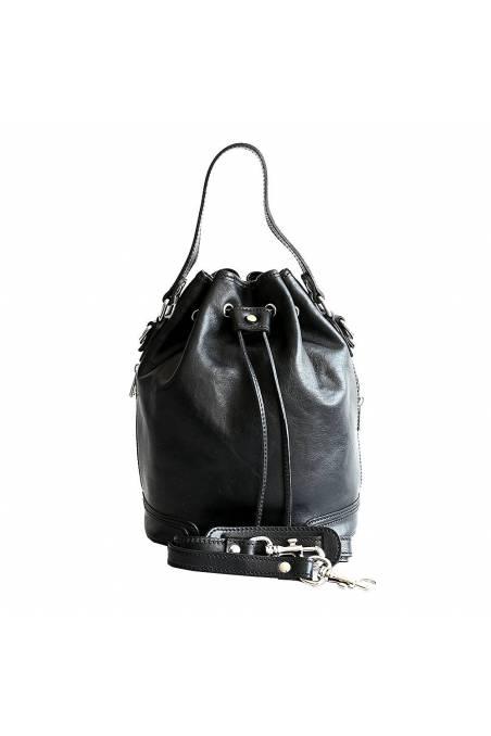 Geanta sac de dama din piele naturala vachetta, neagra, util land, P134