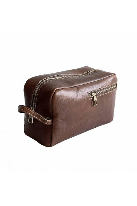 Portfard, geanta cosmetice dama din piele naturala, maro, util land, TD101B