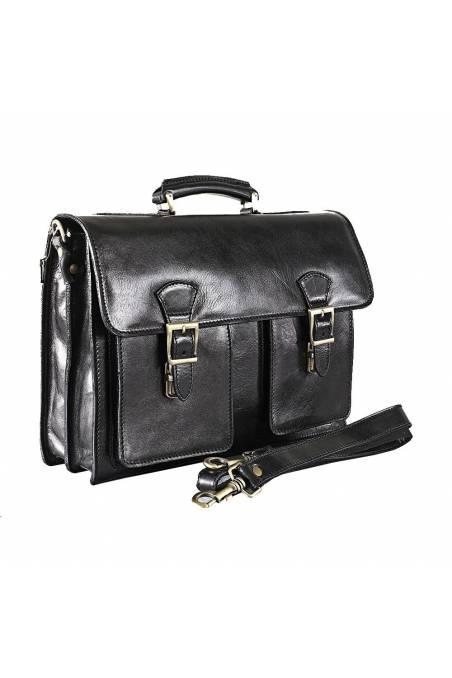 Geanta dama pentru laptop si acte din piele naturala vachetta, neagra, util land, DS151