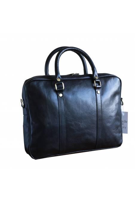 Geanta dama pentru laptop din piele naturala vachetta, neagra, util land fashion, S120