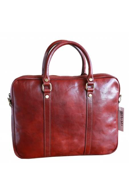 Geanta dama pentru laptop din piele naturala vachetta, coniac, util land fashion, S120A