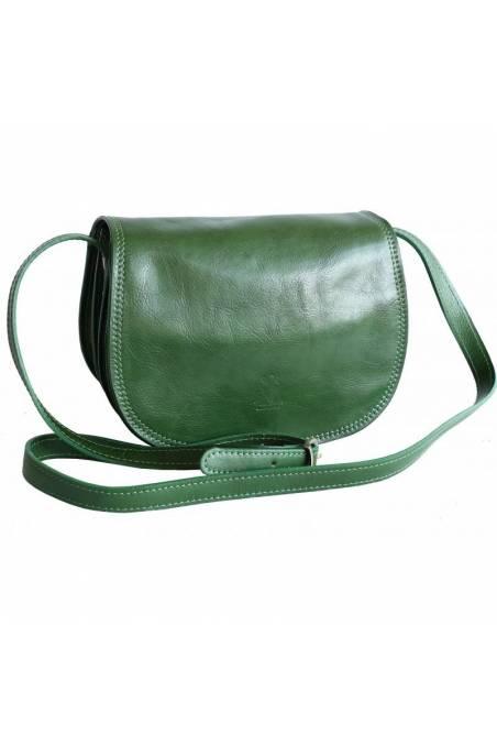 Geanta tip postas din piele naturala vachetta, verde, util land fashion, GD103F