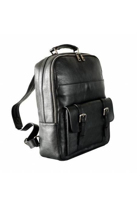 Rucsac barbati pentru laptop din piele naturala, negru, util land fashion, R126