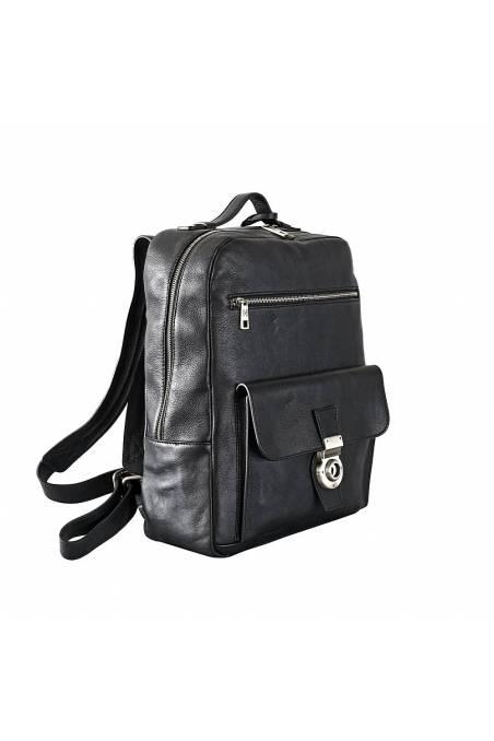 Rucsac barbati pentru laptop din piele naturala, negru, util land fashion, R127