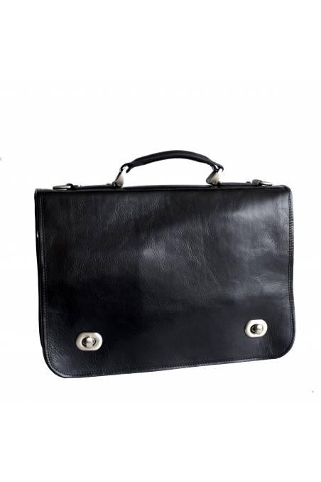 Servieta barbati port laptop din piele naturala vachetta, neagra, gentidebarbati.ro, S110