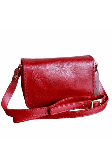 Geanta dama din piele naturala, rosie, util land fashion, crossbody, GD102D